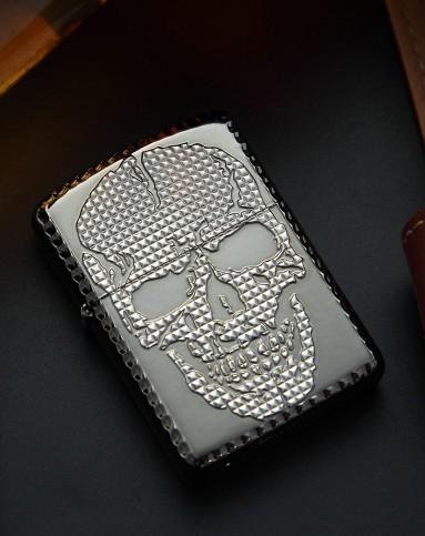 skull studs大骷髅头p白金色
