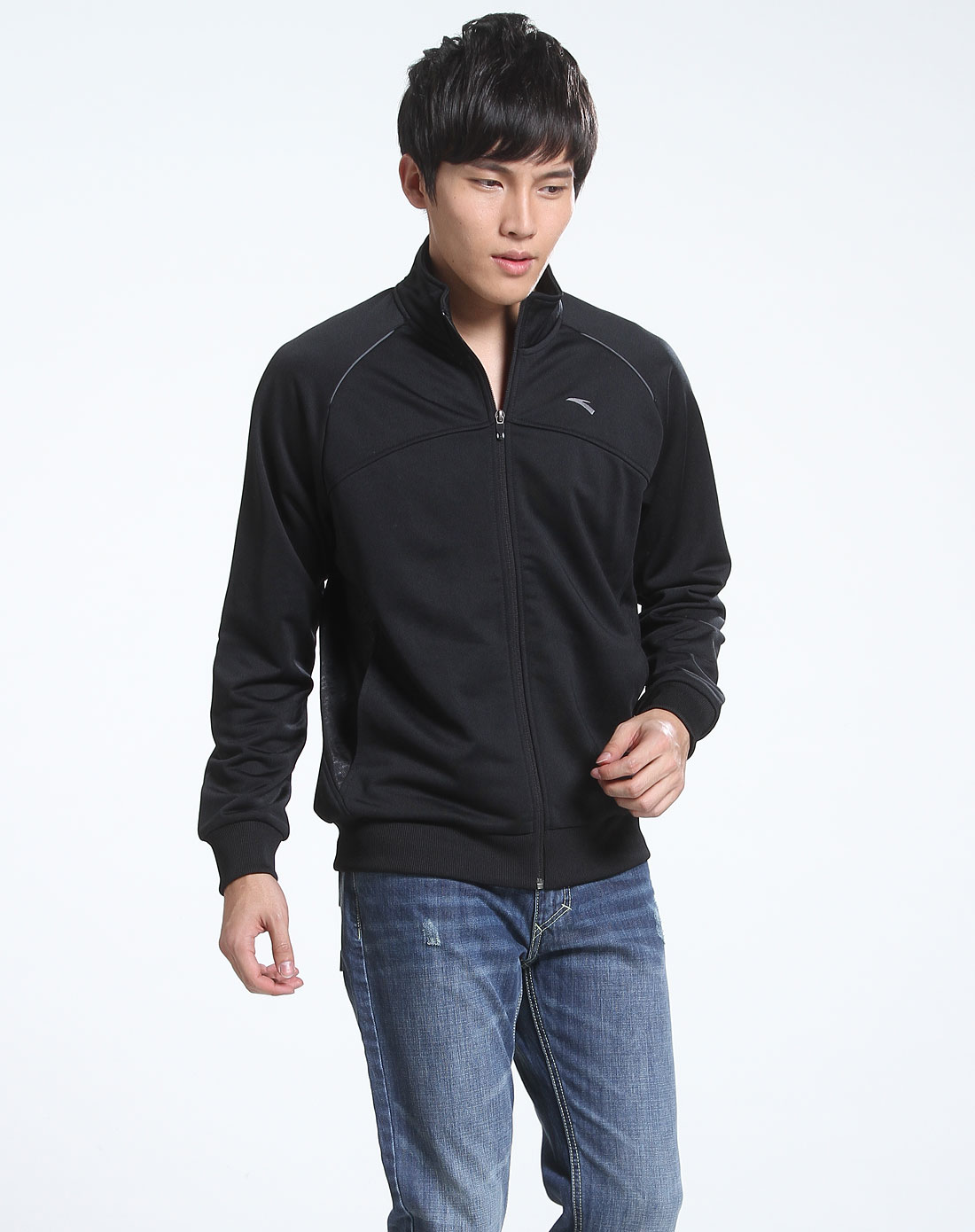 男款 黑色休闲针织长袖运动外套