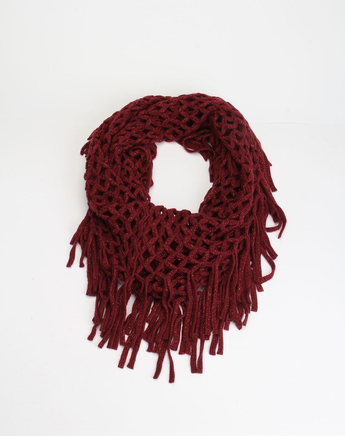 酒红色镂空时尚针织围巾
