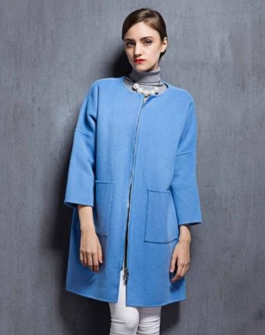 女款湖蓝色双面呢大衣