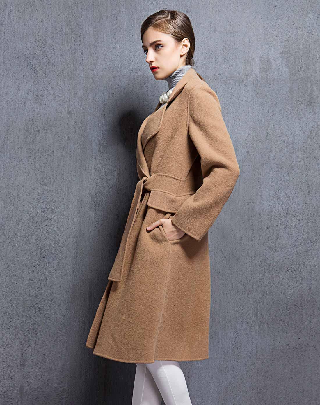 女款驼色双面呢大衣