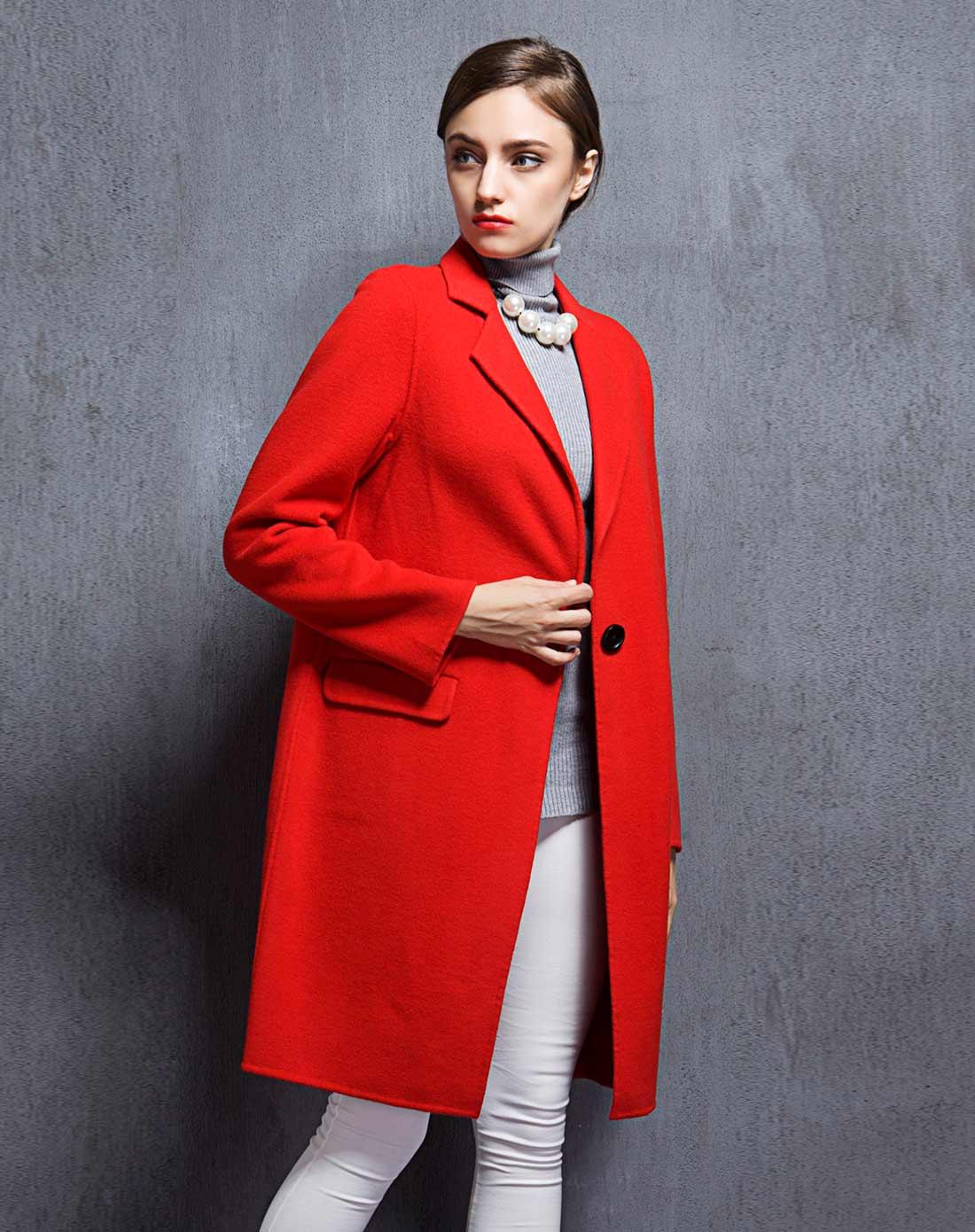 女款红色双面呢大衣