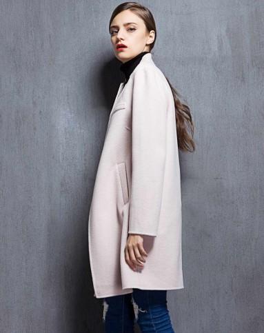 女款粉色双面呢大衣