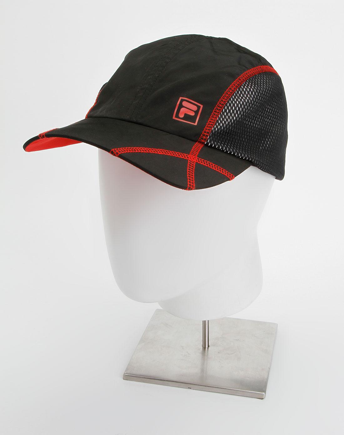 黑/大红色时尚网球帽