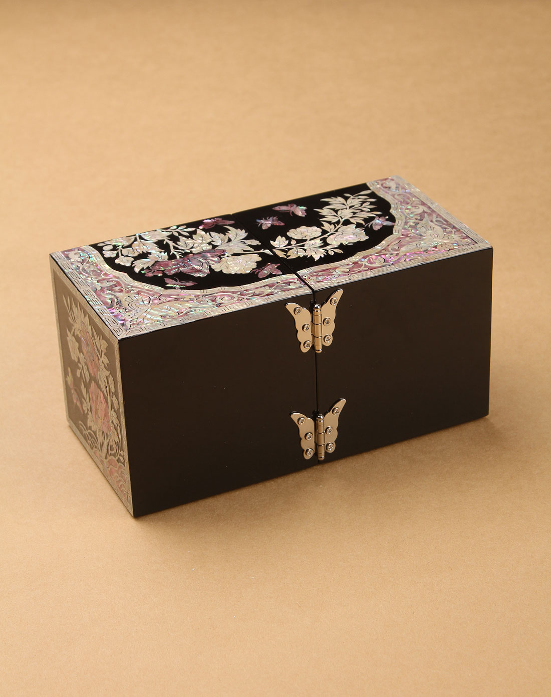 多色韩国进口螺钿漆器公主珠宝首饰盒(对开)