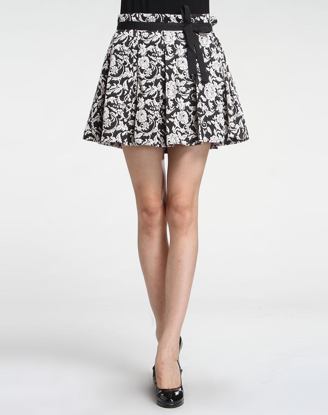 wind黑白色时尚印花短裙4914qh849mg2