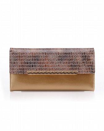 贝尔女装金色女士牛皮三折钱包wac2115a