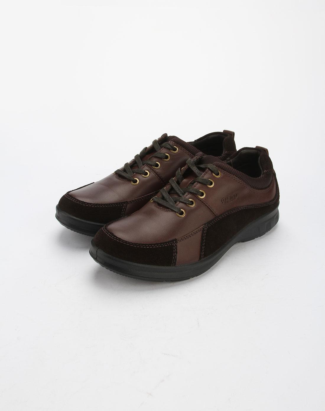 圣伽步skap男款咖啡色系带休闲皮鞋81119691103