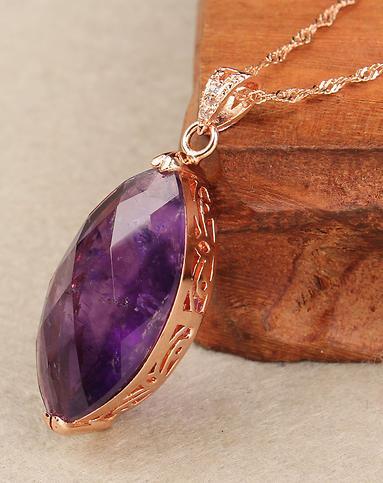 天然紫水晶枣形切面镶嵌玫瑰金吊坠