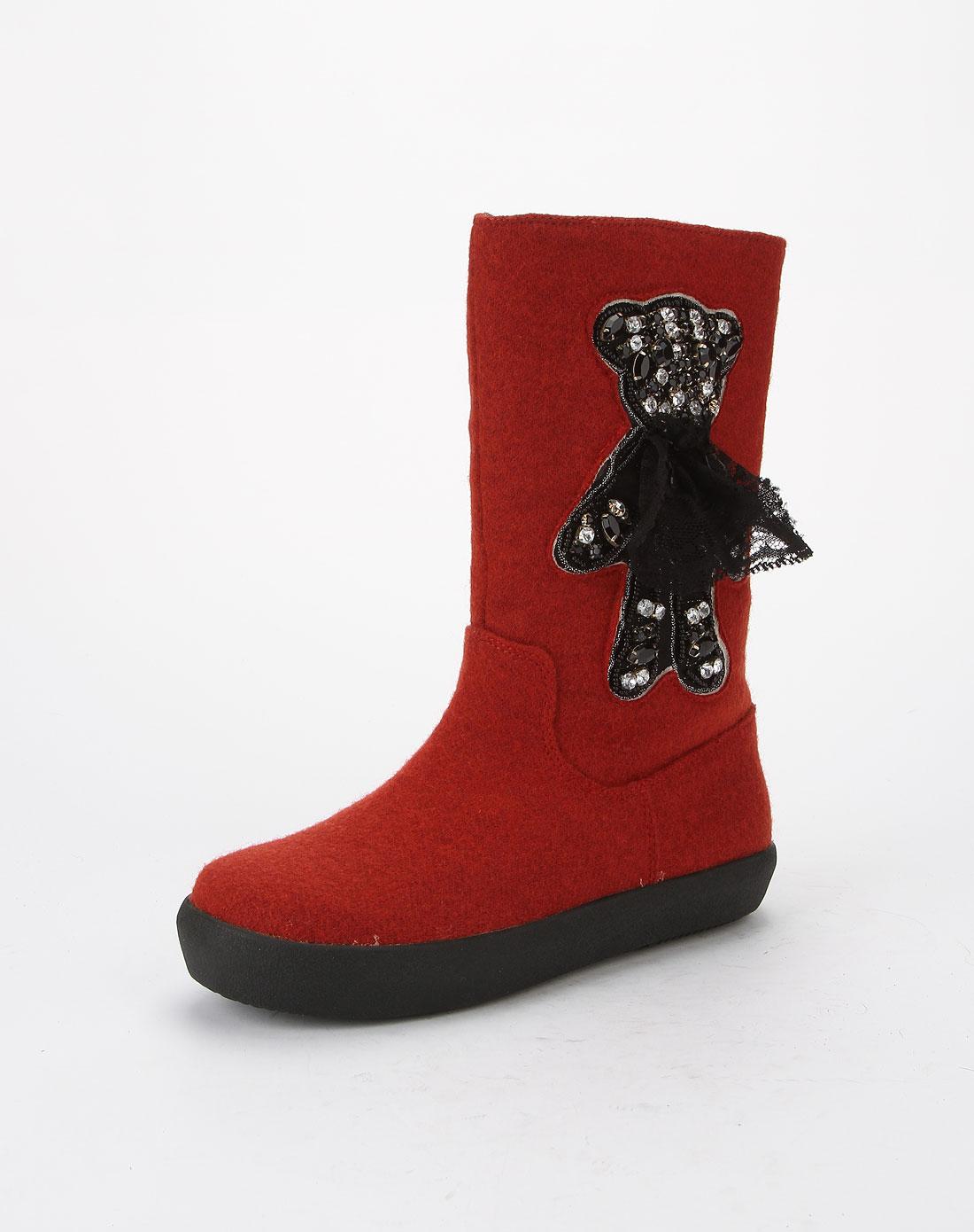 哈森旗下品牌女鞋混合专场-爱旅儿女款红色大方简约平底中靴
