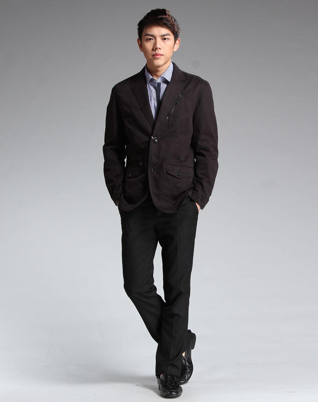 黑色商务时尚休闲长袖西装