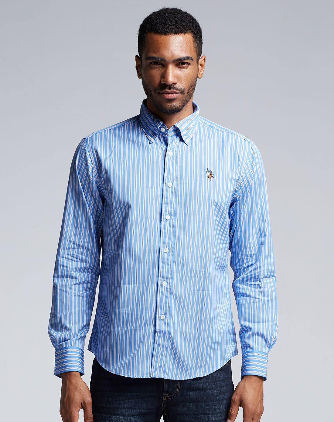 蓝色竖条美式休闲长袖衬衫