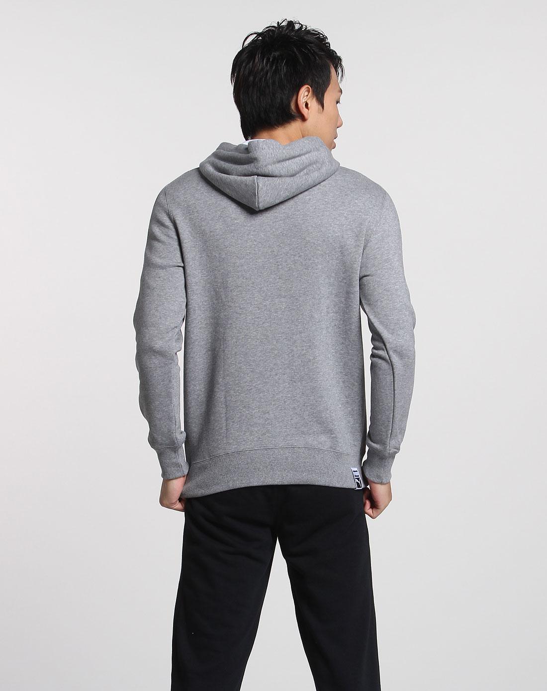 彪马puma男装专场-男款麻灰色连帽针织长袖卫衣