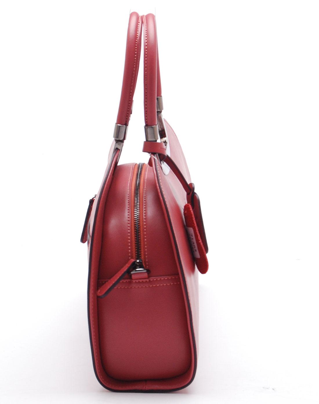 简约半圆形夕阳红色手提包
