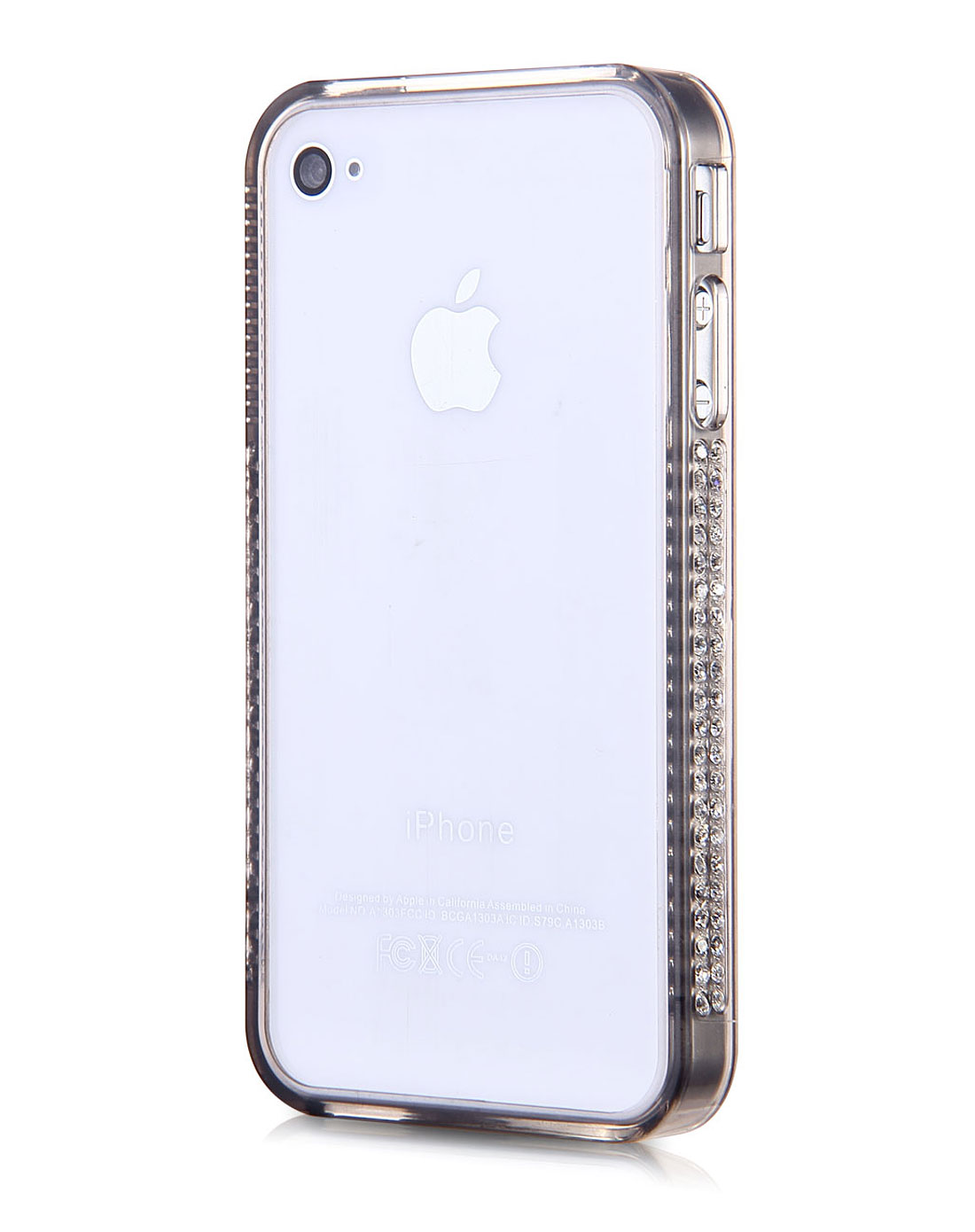 iphone 4/4s 黑色简易钻石边框手机保护壳