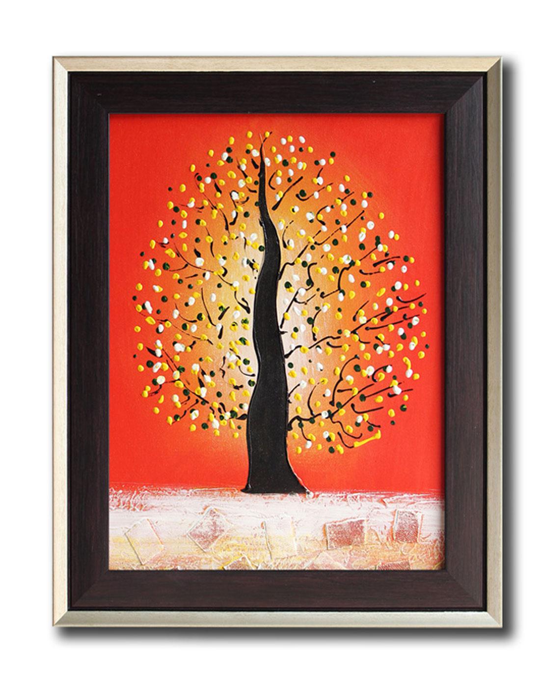 发财树红色调-纯手绘油画(单幅)
