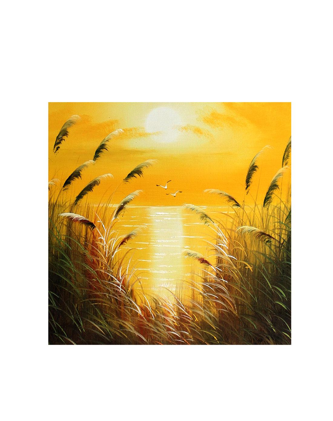芦苇草金黄色调-纯手绘油画(单幅)