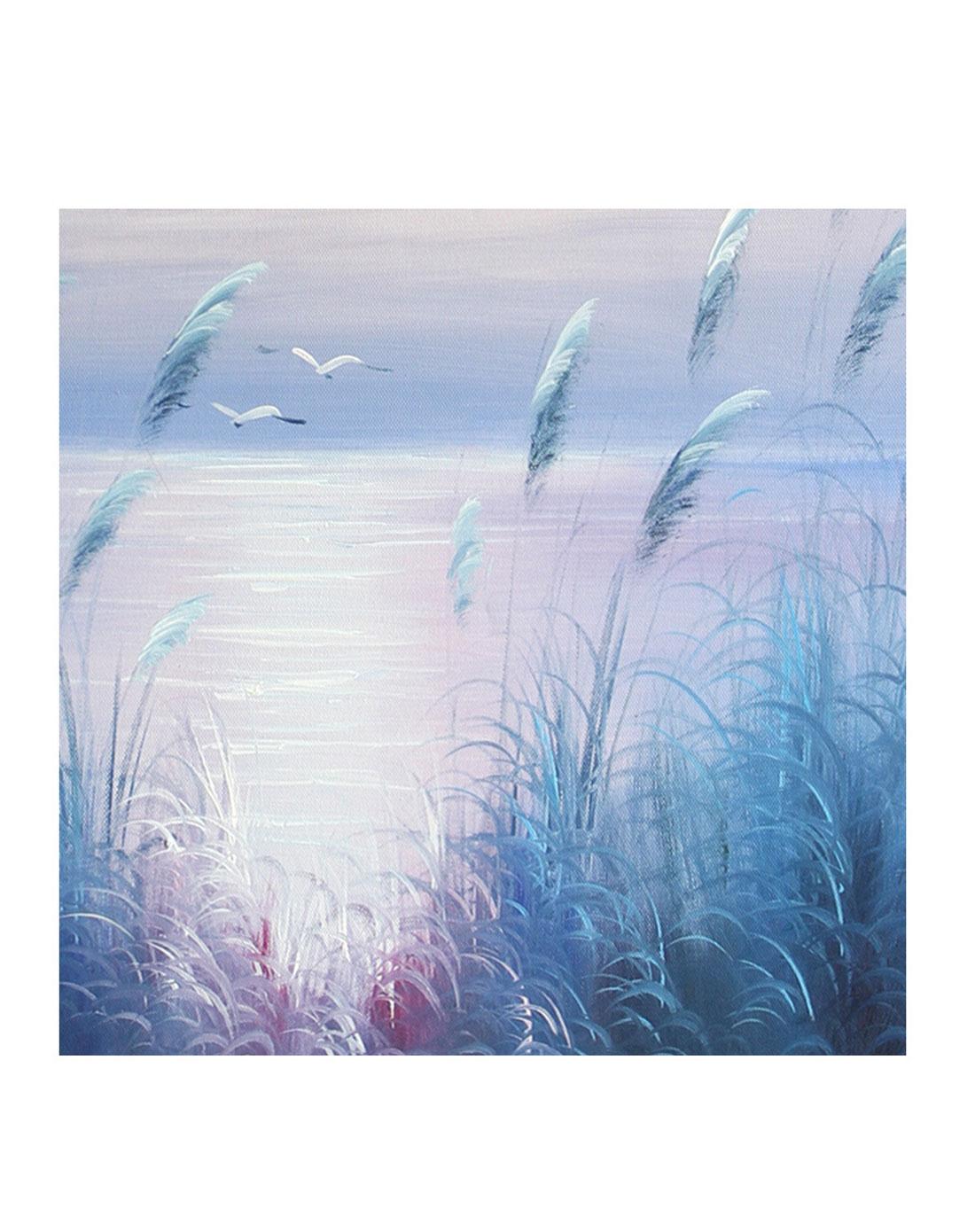 芦苇草月色调-纯手绘油画(单幅)