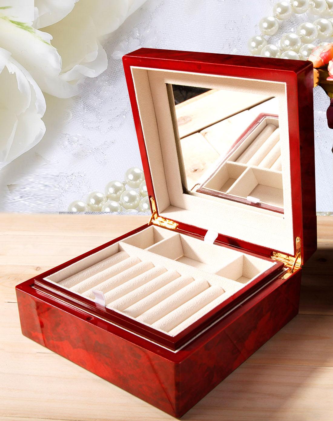 雅工坊钢琴烤漆首饰盒化妆盒(酒红色方形)802020005