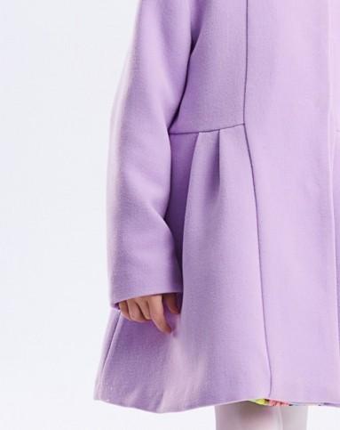 女童浅紫色纯色蝴蝶结呢大衣