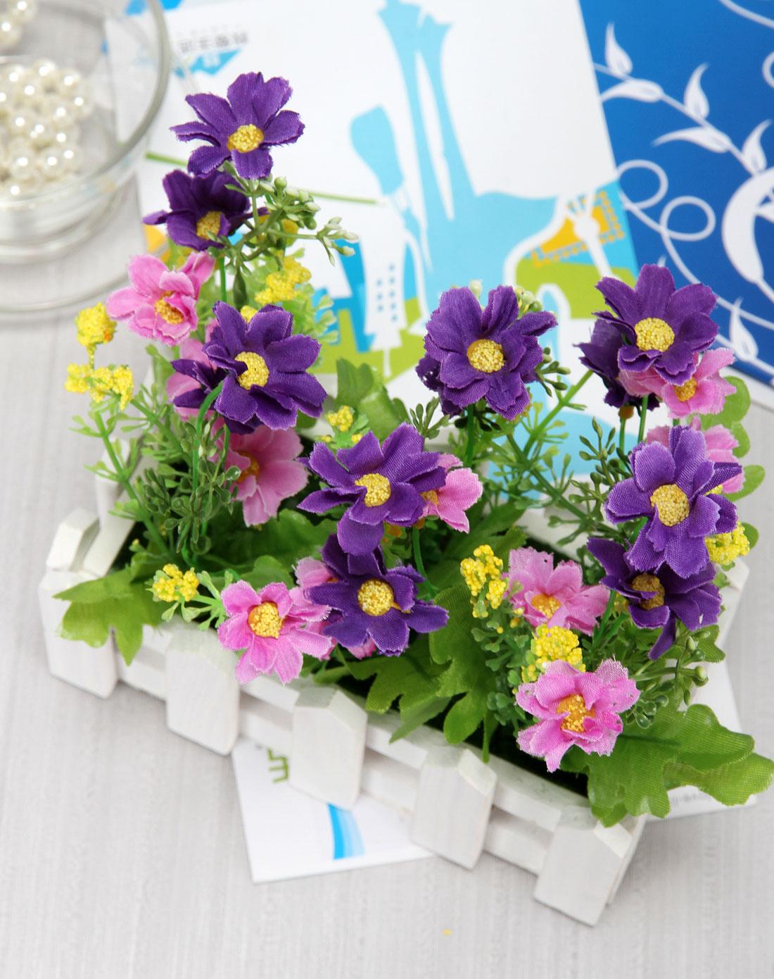 紫色欧式长款栅栏仿真装饰花浪漫小屋