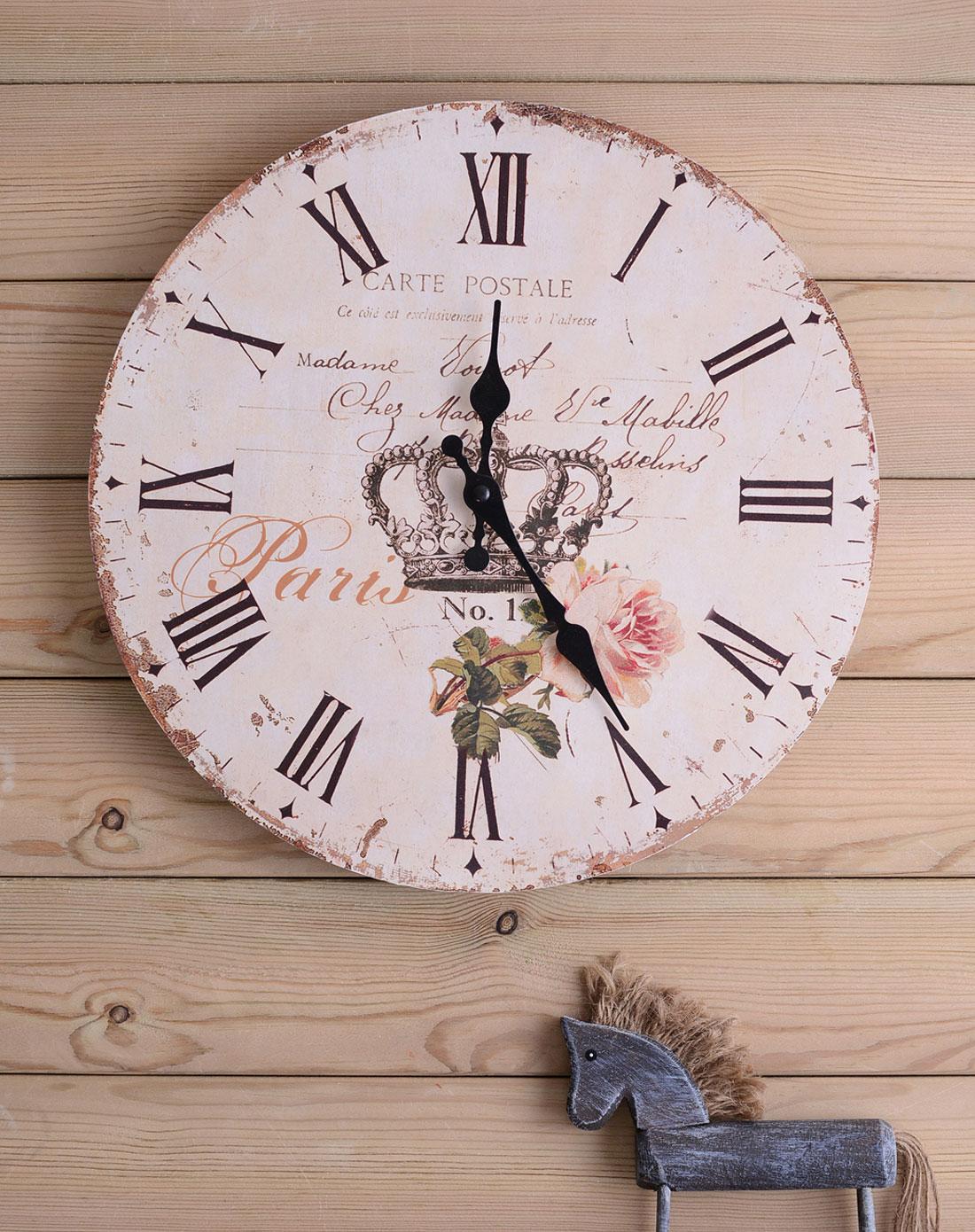 生活编辑者 英式仿古做旧皇冠木制时钟