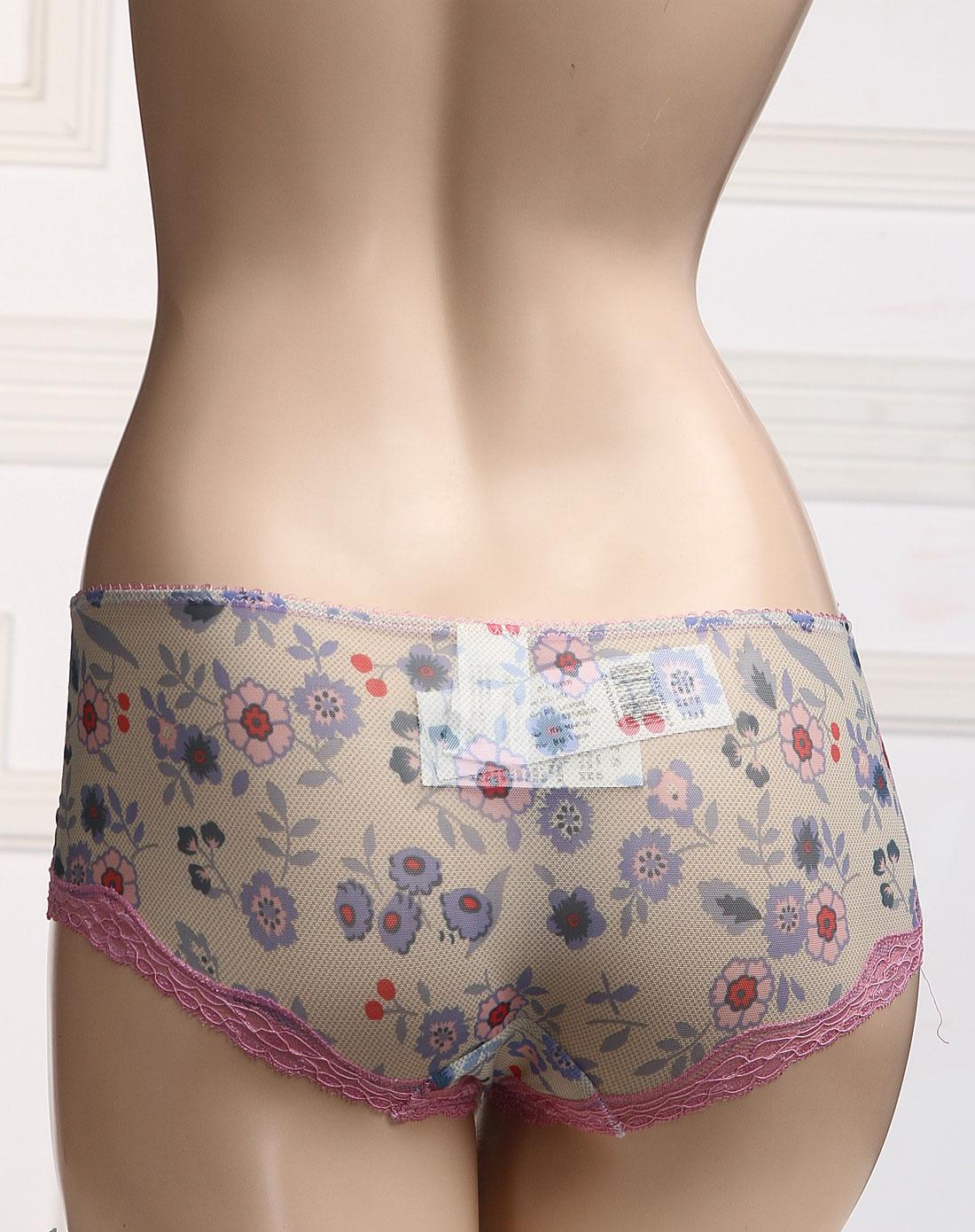 elle-内衣-淡紫/淡黄色蕾丝花纹三角内裤