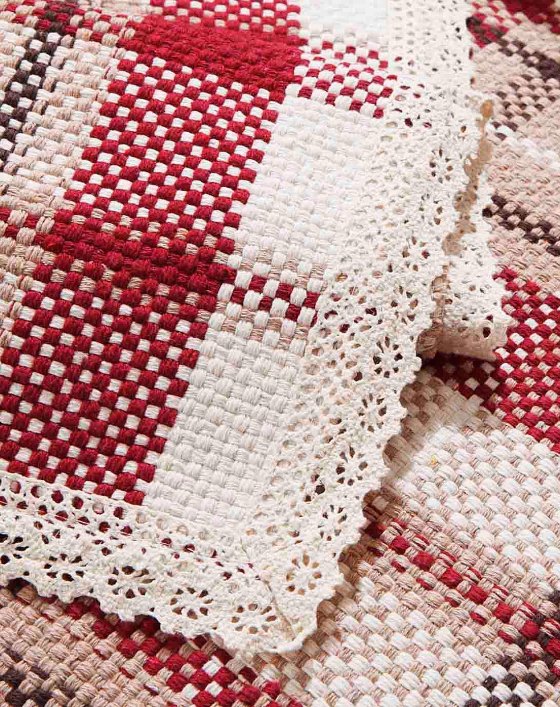70*120纯手工编织棉沙发垫(红格)