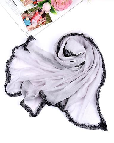 女款灰色色水印四面花边包边素雅系列围巾