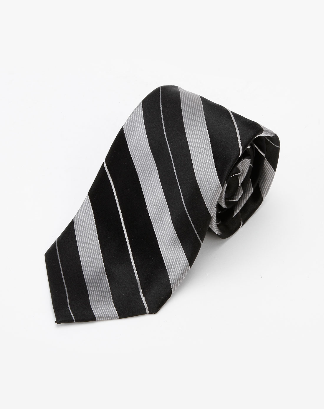 dkny 男款黑/灰色斜条纹领带