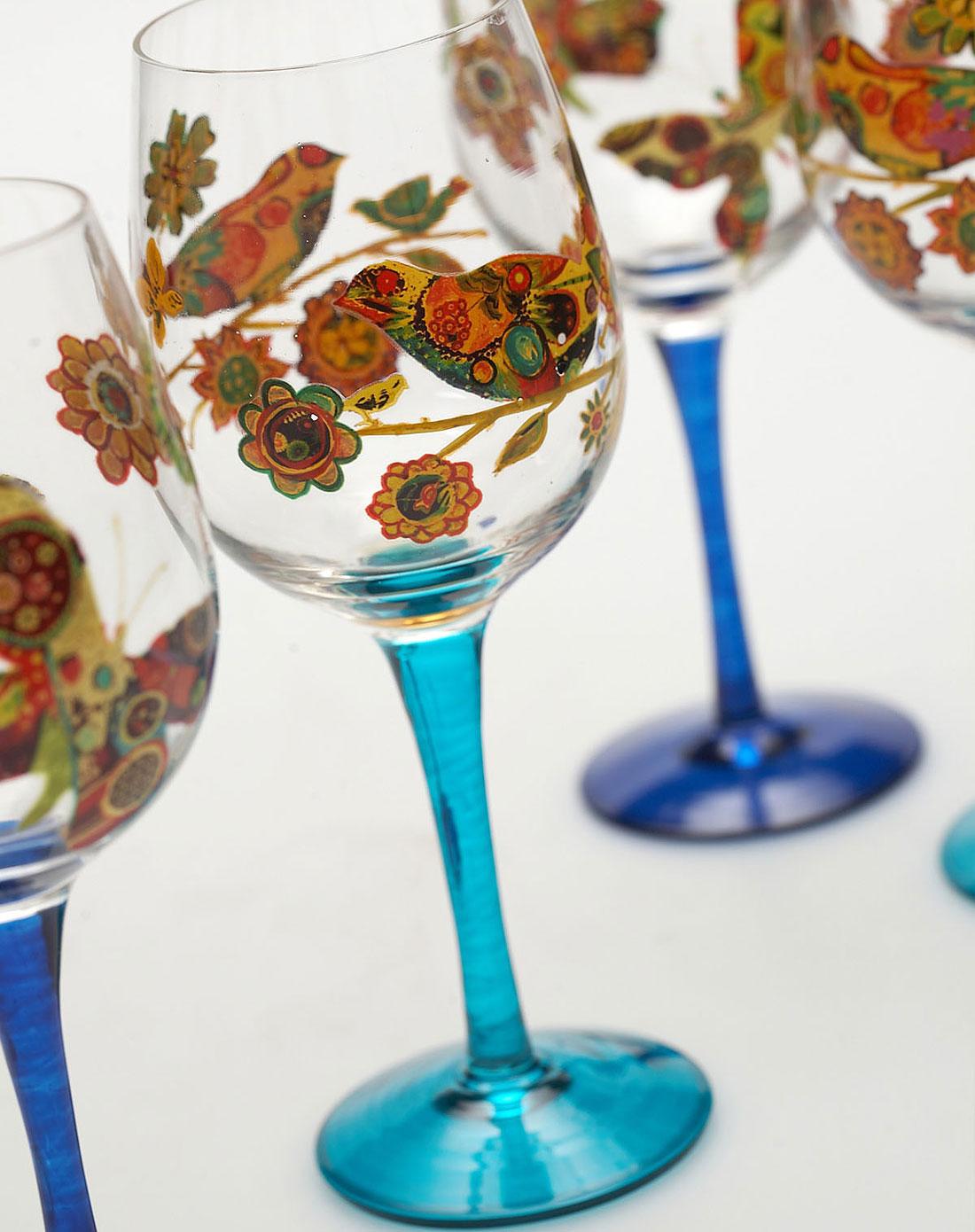 手绘玻璃红酒杯四件套