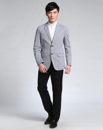 灰白色千鸟格时尚长袖休闲西装外套