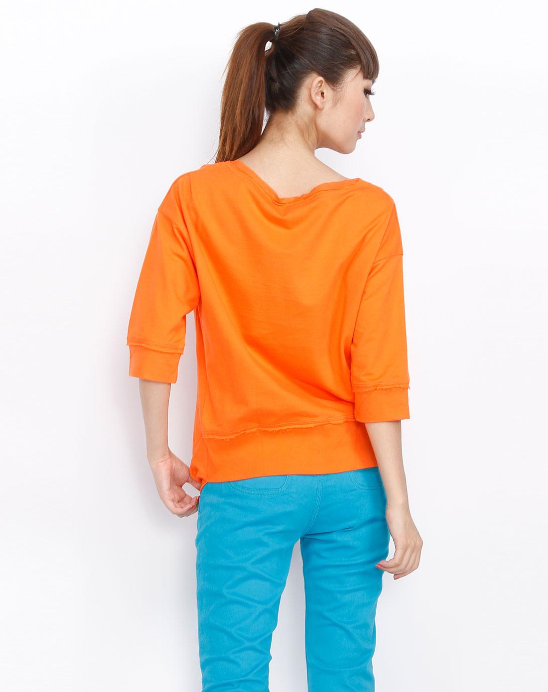 播broadcast 橙色时尚中袖印图t恤