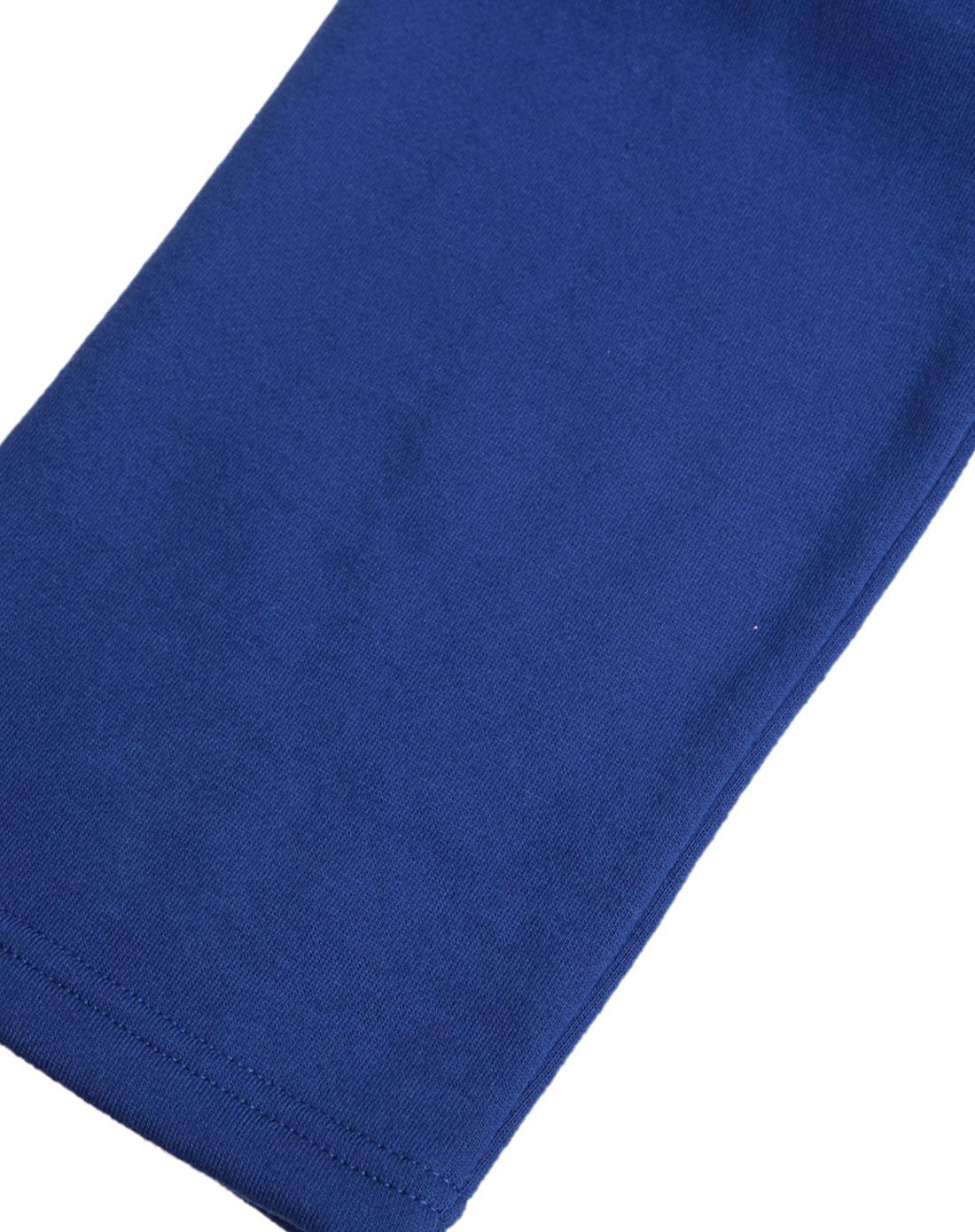 宝蓝色纯色活力简洁休闲运动长裤