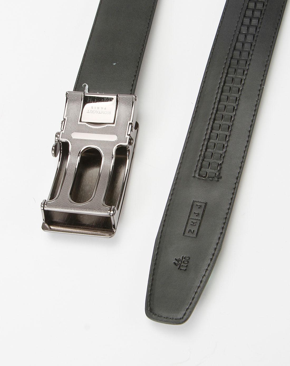 梦特娇montagut男款黑色传统商务皮腰带mfb115201928