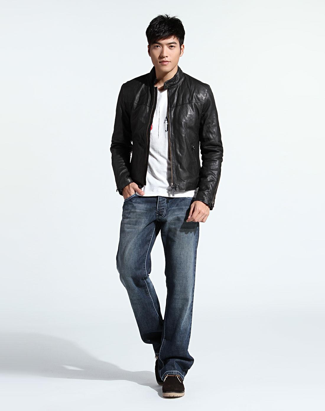 奢华欧美男士armani 男款酷感潮流真皮夹克外套黑色