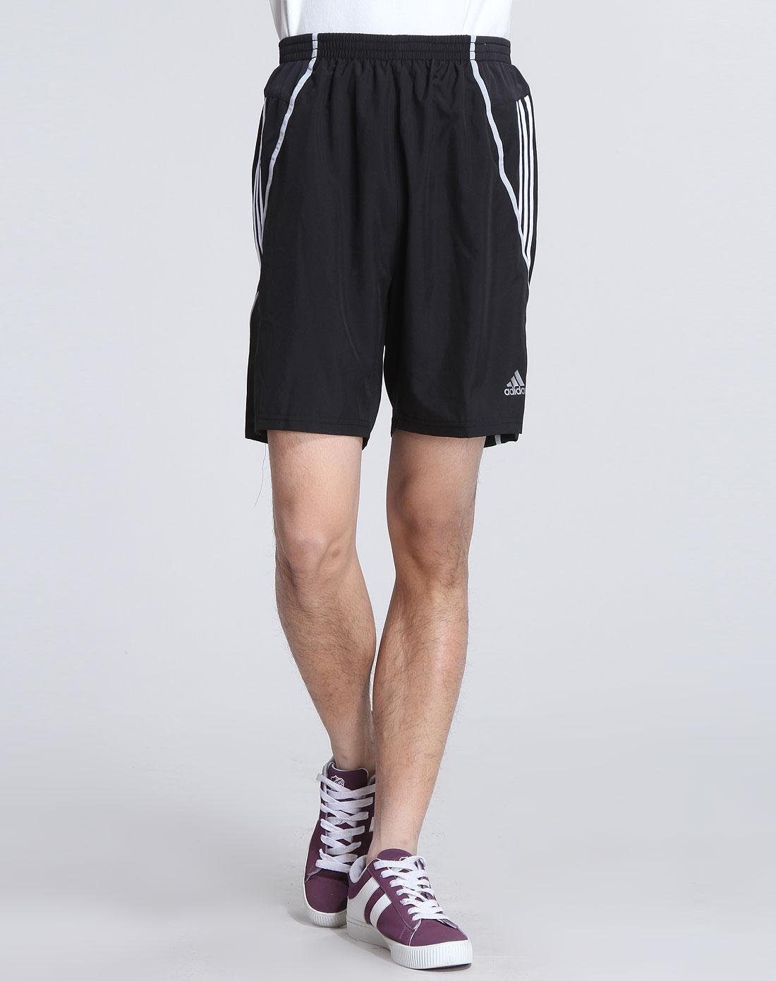 阿迪达斯adidas男装专场-男款黑色舒适跑步短裤