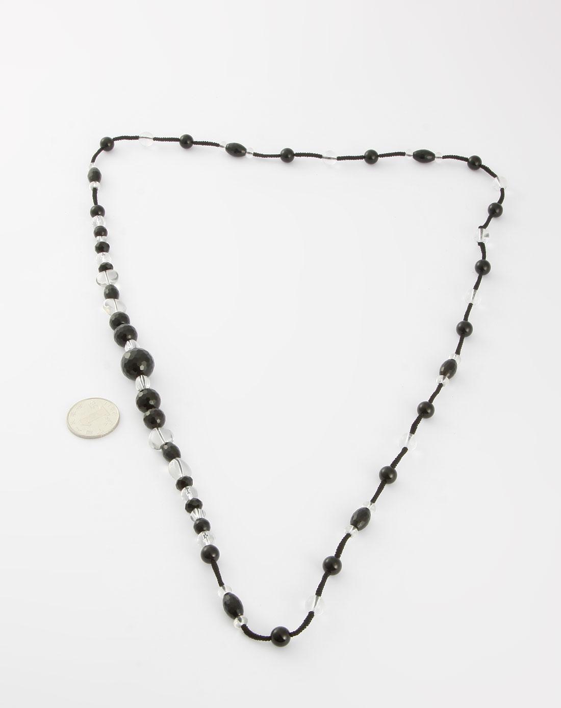 黑色玛瑙白水晶编织项链