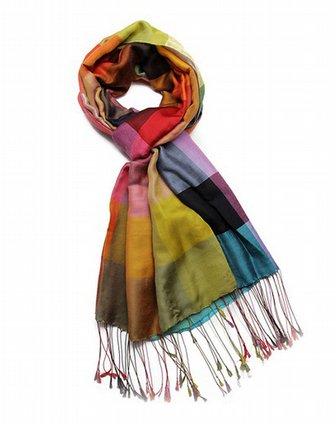彩色格子围巾