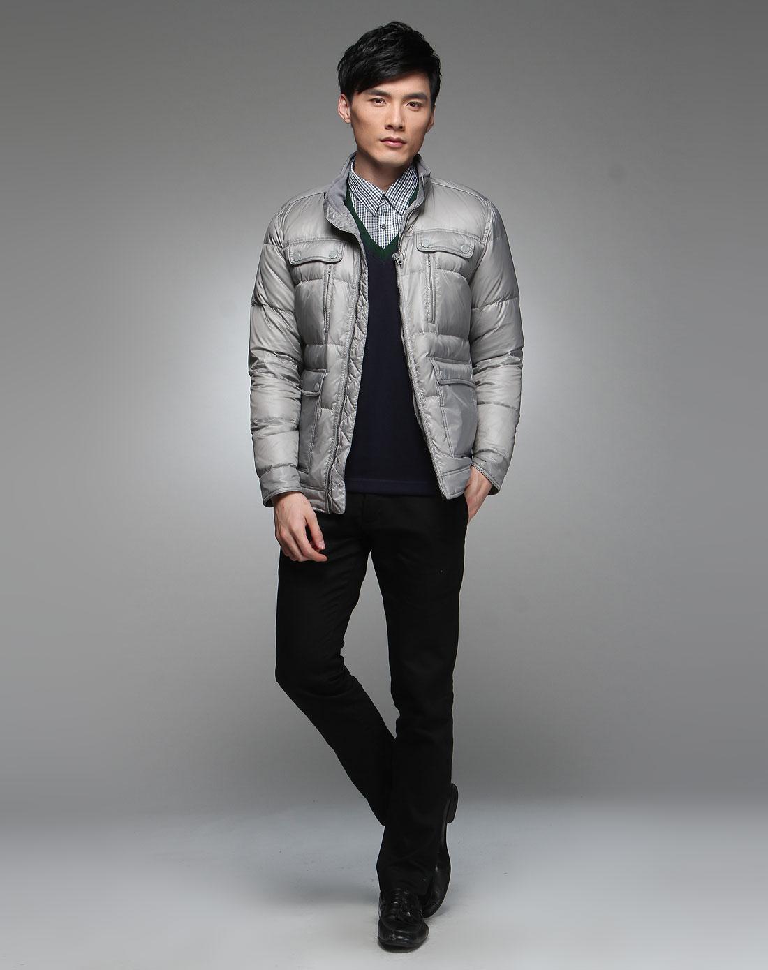 男款浅灰色时尚长袖羽绒服精品陶瓷图片
