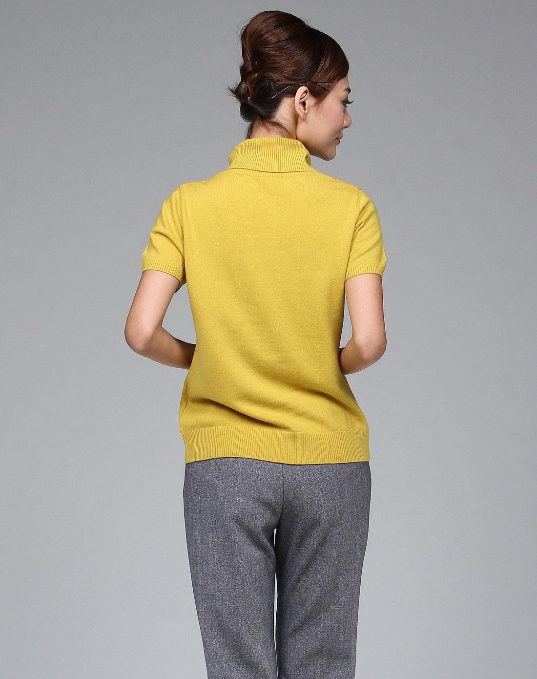姜䲹a�_浅秋qianqiu女装专场-浅姜黄色简洁烫钻短袖套衫