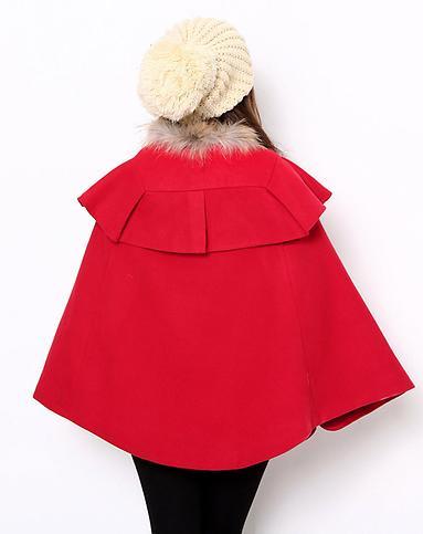 韩都衣舍hstyle女装专场-女款红色斗篷外套