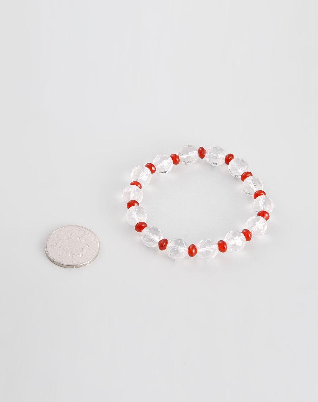 kmonado饰品专场-红色/白色白水晶164面红玛瑙手链