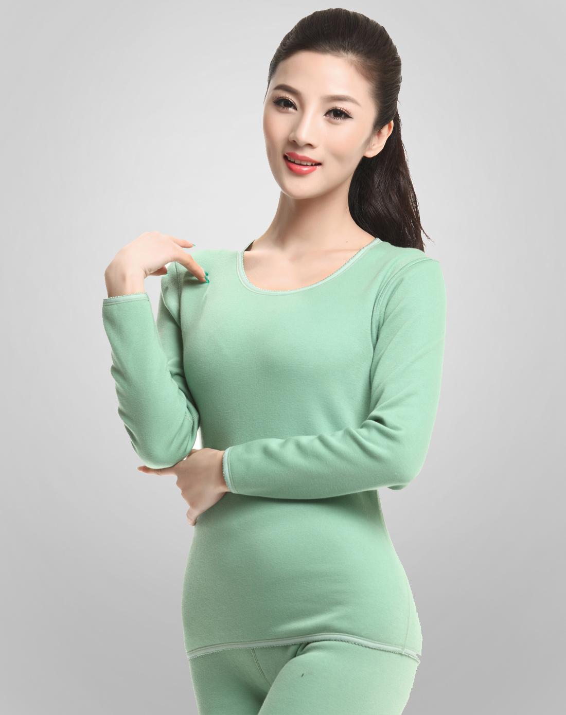 女款果绿色焕彩蓄热绒保暖内衣