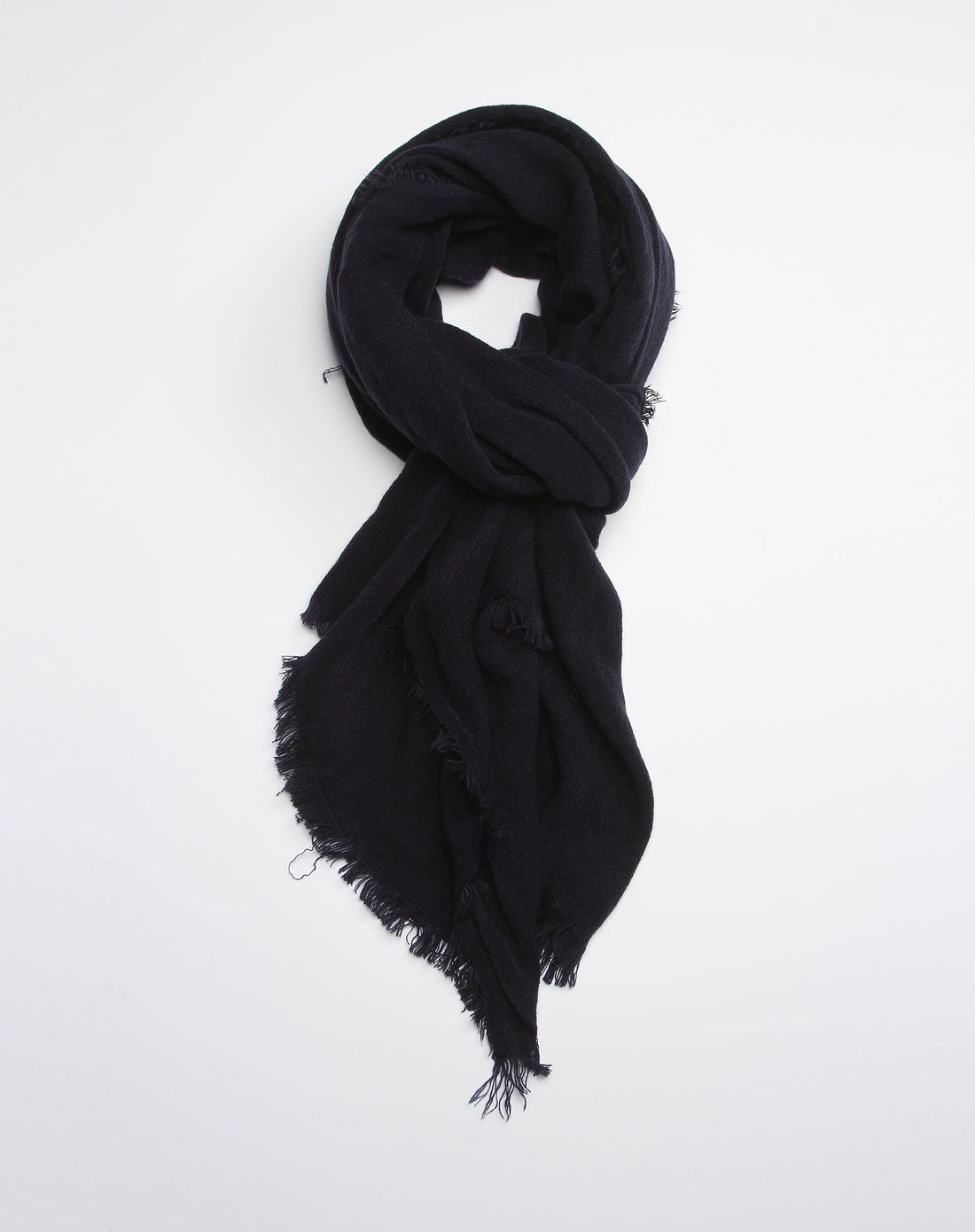 黑色纯色针织围巾
