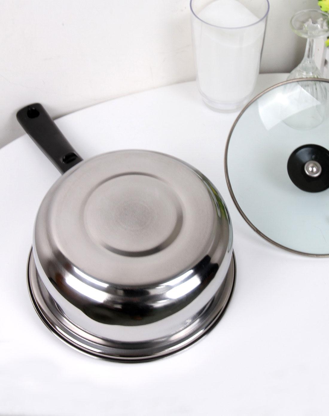 亮银色不锈钢优质单柄锅