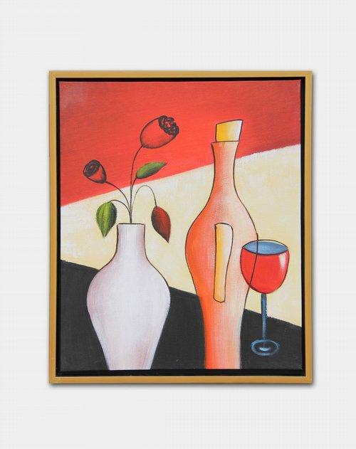宜生活 《玫瑰瓶花》纯手绘油画