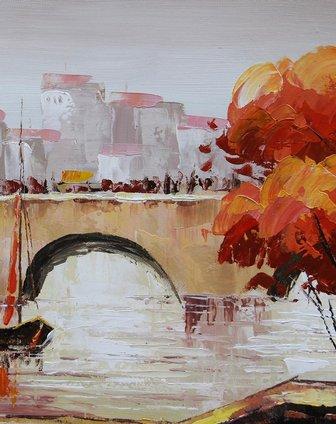 《城市之桥》纯手绘油画