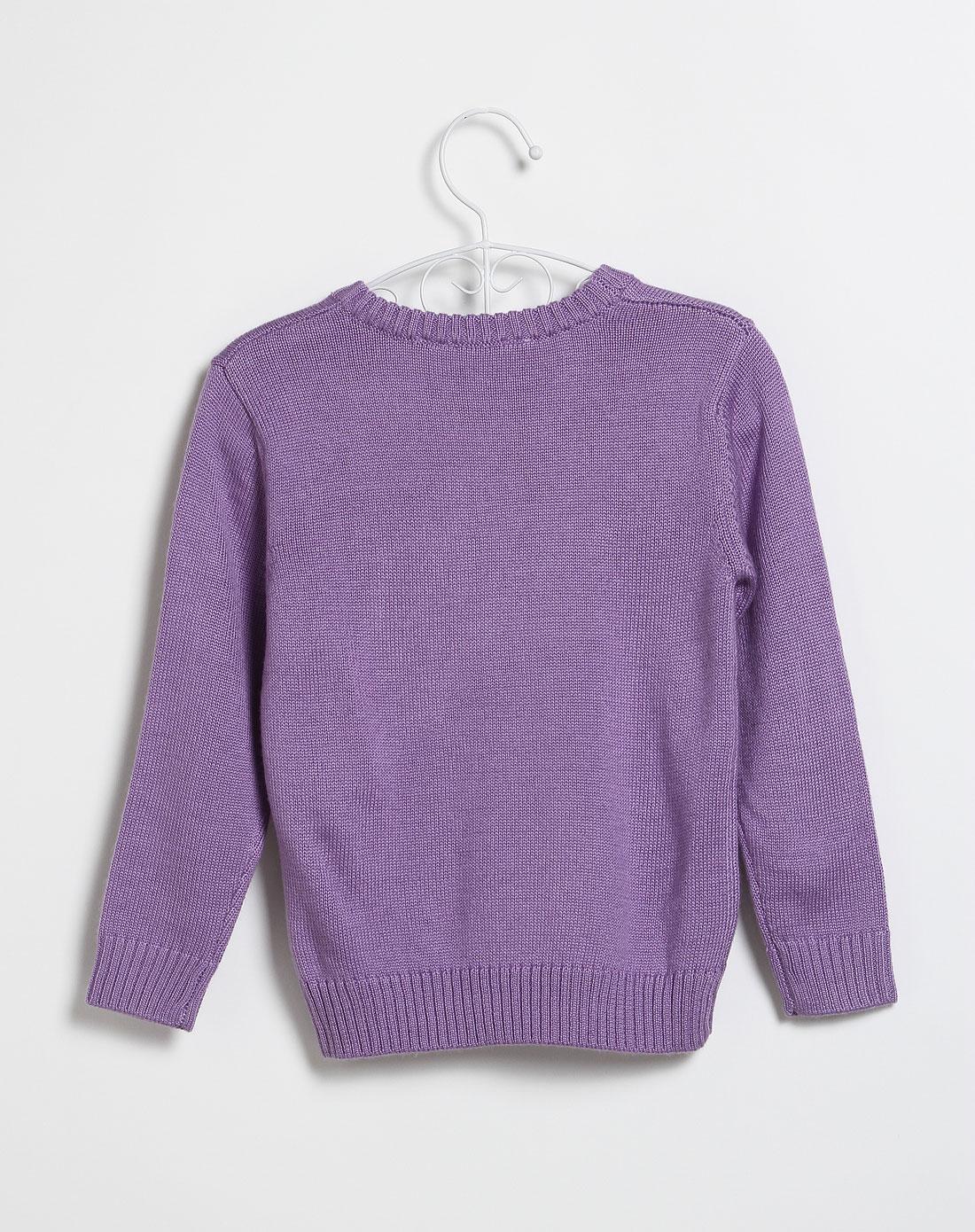 女童浅紫色蝴蝶结圆领长袖毛衣