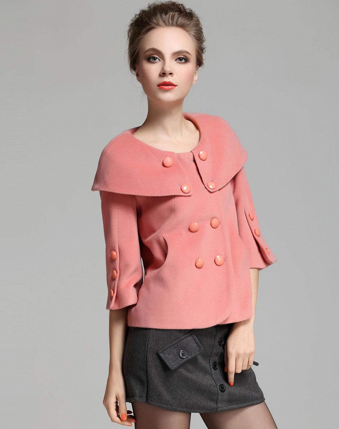 粉色短款滑领羊毛羊绒大衣图片